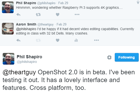 2016-05-23 09_07_40-Phil Shapiro on Twitter_ _@theartguy OpenShot 2.0 is in beta. I've been testing